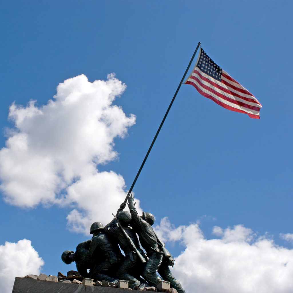 Military, US Flag, Statue